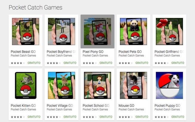 Inspirada em Pokémon Go, a Pocket Catch Games publicou uma série de jogos alternativos na Play Store