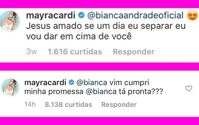 Mayra Cardi e Bianca Andrade interagem no Instagram
