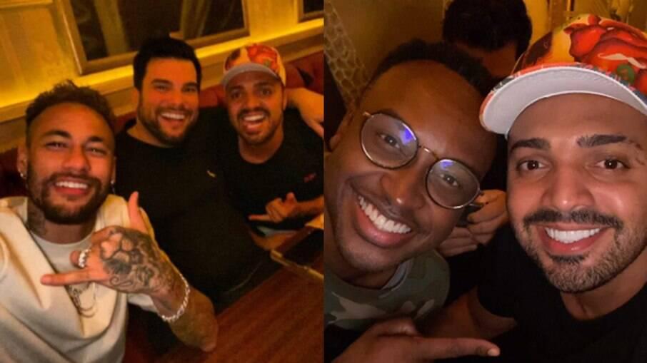 Neymar, Thiaguinho e Tirullipa em jantar no Paris 6