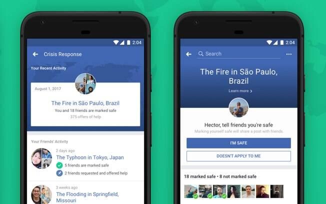 Área do Facebook de resposta a crise poderá ser acessada pelo feed de notícias ou pelo menu do aplicativo