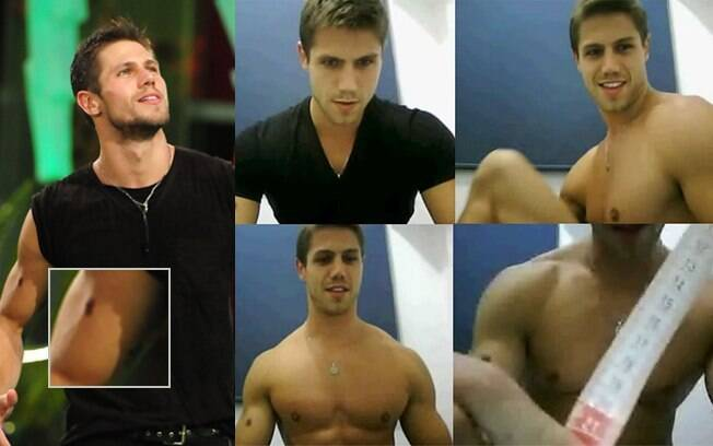 Jonas na festa do último sábado no BBB, com detalhe da pinta em seu braço direito; imagens do homem que seria Jonas do vídeo íntimo, à direita: marcas iguais no braço