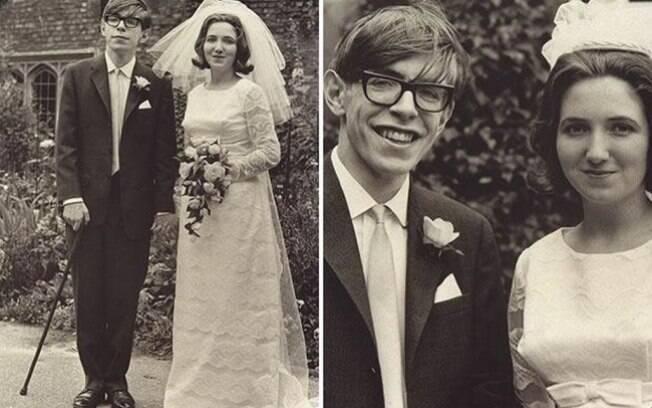 Stephen Hawking com sua primeira esposa, Jane Wilde.