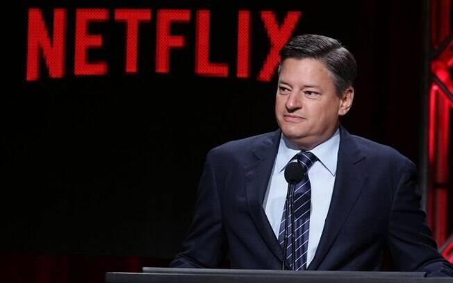 Ted Sarandos, chefe de conteúdo da Netflix, fala a investidores