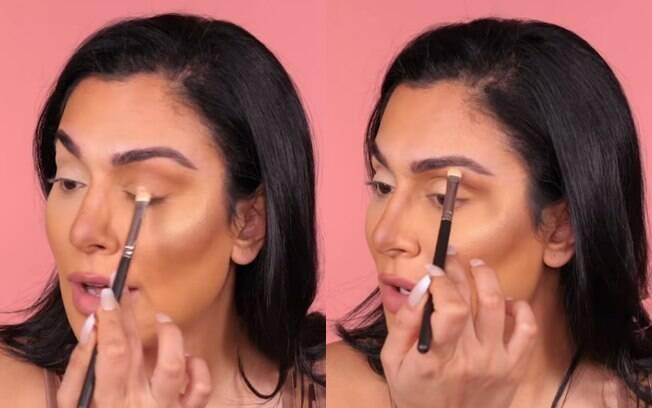 Iluminar as áreas acima dos olhos, a pálpebra e o canto interno do olho com sombra é outro passo do truque de maquiagem