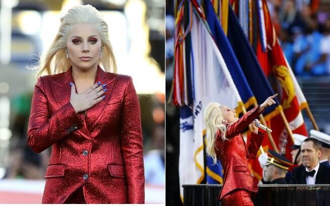 Lady Gaga aposta no brilho vermelho para cantar no Super Bowl 2016