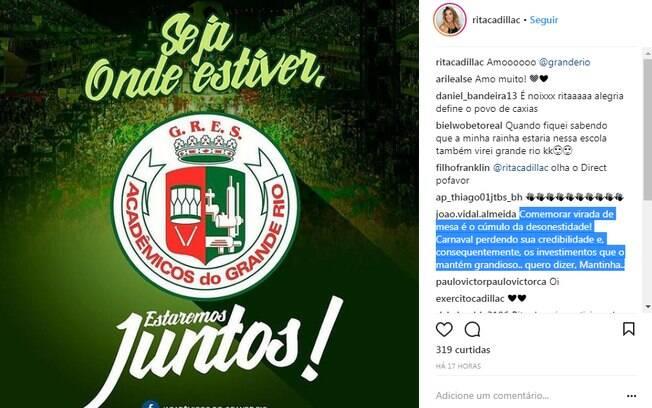 Rita Cadilac comemora o não rebaixamento da Grande Rio no carnaval e é criticada na web