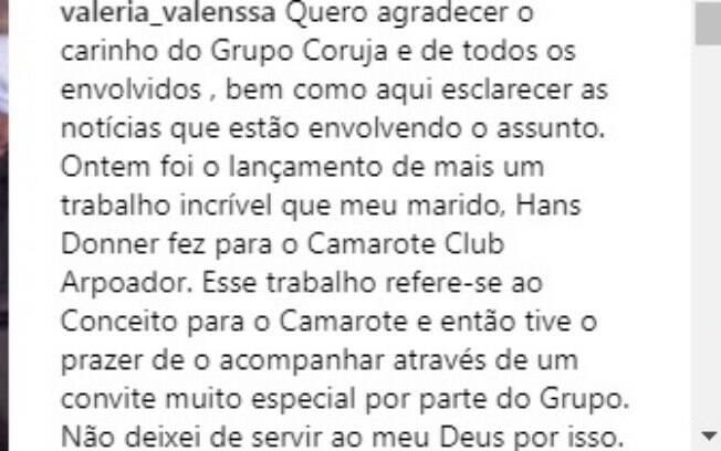 Post de Valéria Valenssa justificando sua presença no evento da Sapucaí