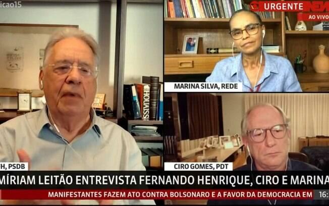 FHC, Ciro Gomes e Marina Silva defendem frente ampla para defender democracia