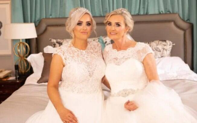 Aisling e a mãe Trisha fizeram a cerimônia de casamento conjunta surpresa para os convidados