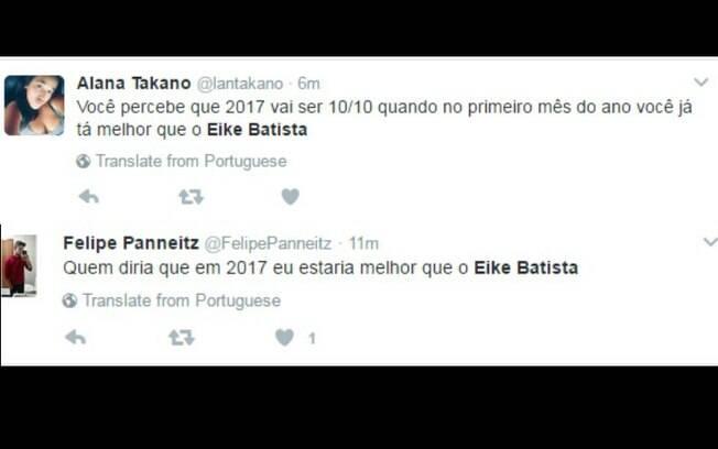 No Twitter, usuários comemoraram por terem um início de ano melhor do que o de Eike Batista