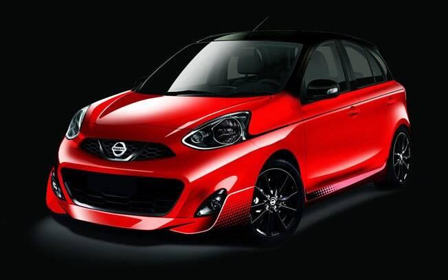 Mais agressivo, o Nissan March Midnight Edition ganha novo para-choque, pintura na cor vermelha e preta e asa traseira.