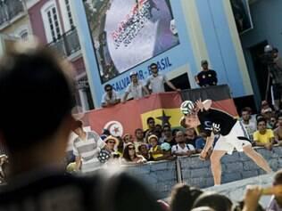 Andrew Henderson mostrou toda a sua habilidade no Pelourinho, em Salvador