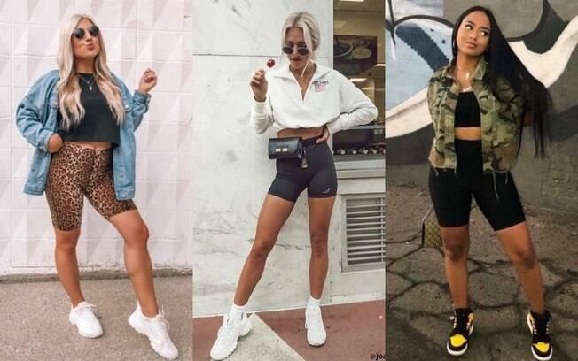 Outra combinação popular das fashionistas é o biker shorts com top, camisetas ou moletons cropped