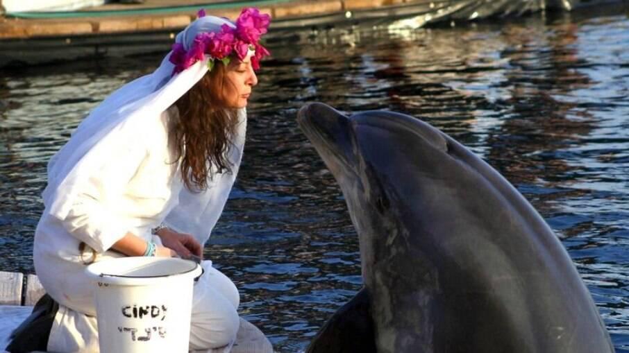 Mulher e seu marido golfinho