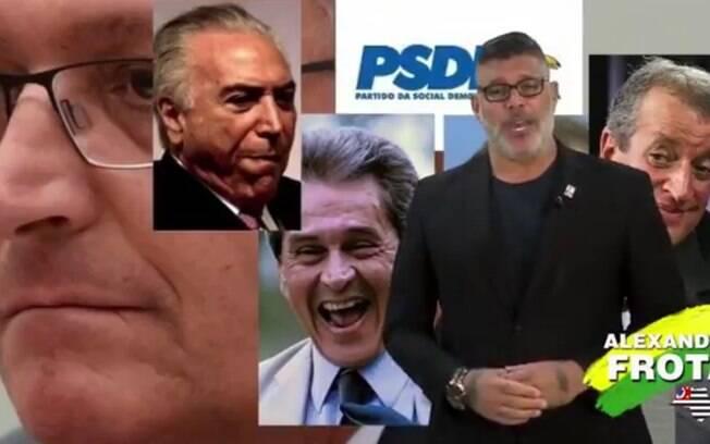 Em vídeo de pré-campanha, o deputado federal Alexandre Frota xinga o PSDB, partido que o acolhe em filiação em agosto após PSL expulsá-lo.