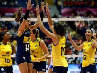 Brasil derrotou a Sérvia por 3 a 0 (parciais de 26/24, 25/21 e 25/22)