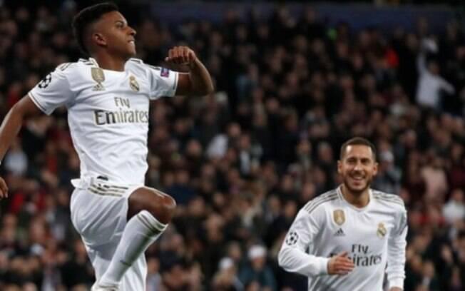 Rodrygo comemora gol pelo Real Madrid