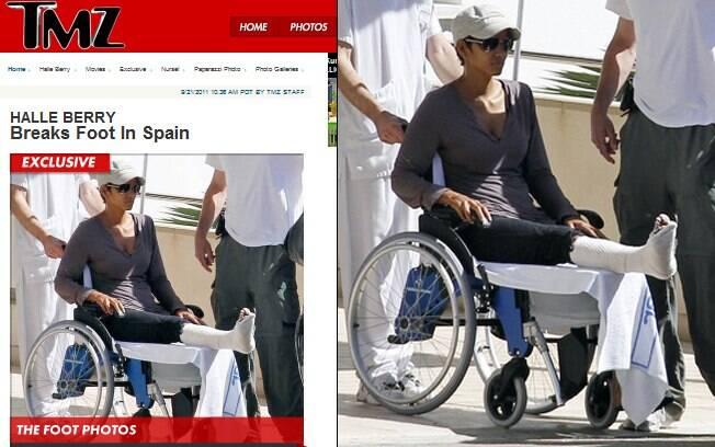 Halle Berry com o pé imobilizado