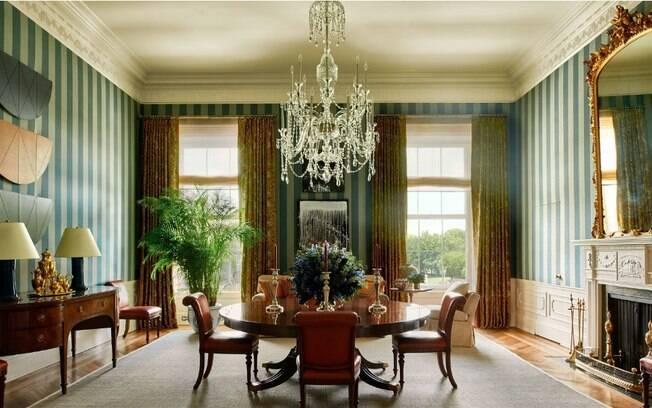 A sala de jantar usada apenas pela família, na Casa Branca