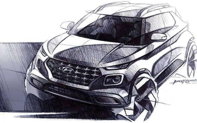 Hyundai Venue terá linhas que seguem o estilo de lançamentos recentes da marca, como o SUV Kona e o novo Santa Fe