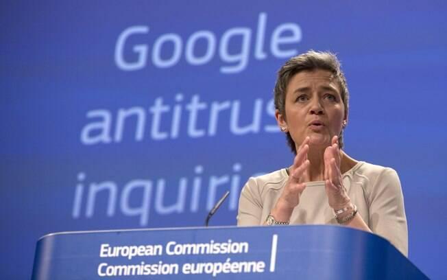 Margrethe Vestager, chefe do órgão antitruste da União Europeia, fala sobre as práticas do Google no mercado de buscas e também sobre o Android