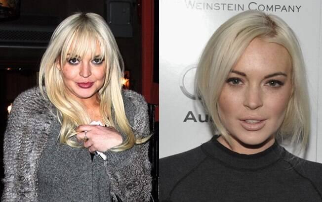 Lindsay Lohan recentemente (à esq.) e, mais magra, em evento há poucos meses