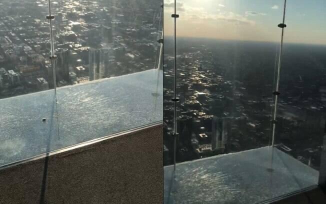 Imagens divulgadas no Facebook mostram área de vidro rachada no 103º andar da Willis Tower, ponto mais alto de Chicago