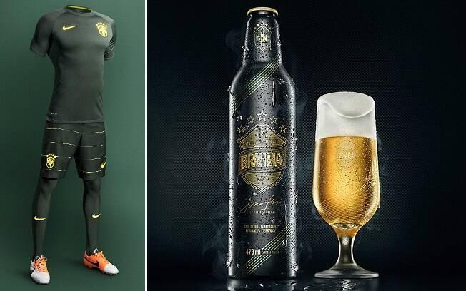 Garrafa da cerveja lembra a nova camisa da seleção, apresentada recentemente