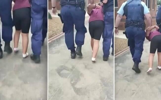 A criança foi algemada e levada pelos policiais