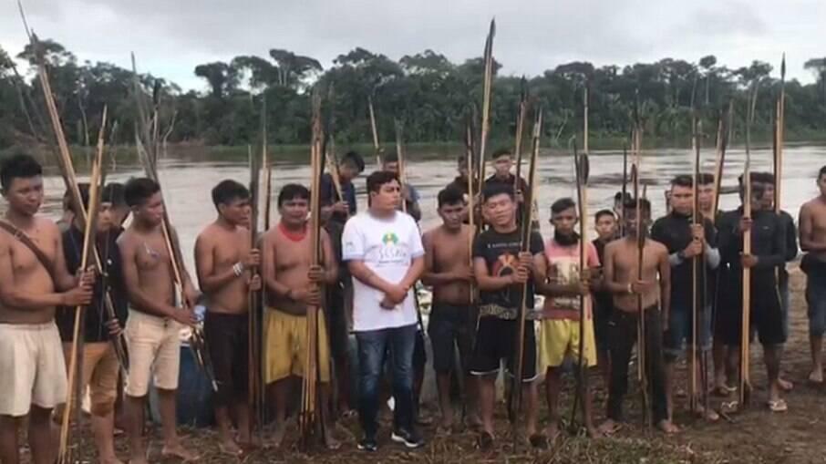Yanomamis que vivem na comunidade Palimiú, em Roraima