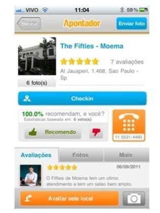 É possível fazer check-ins no aplicativo do Apontador