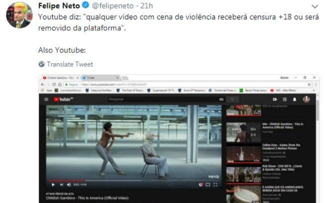 Felipe Neto fala sobre a não censura do Youtube no novo clipe de Childwish Gambino