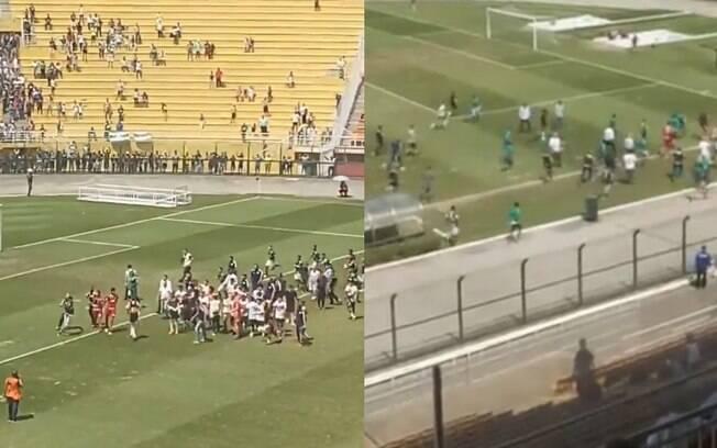 Briga toma conta de jogo sub-17 entre Palmeiras e São Paulo