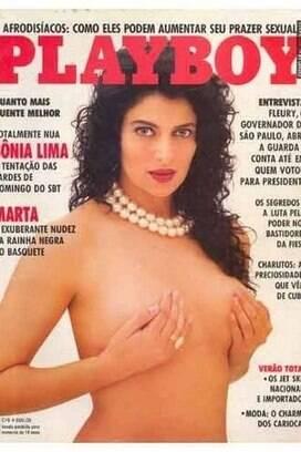A pivô Marta, do basquete, entrou apenas como chamada de capa em uma edição de 1987, mas Playboy acabou optando pela atriz Sônia Lima. A jogadora foi prata naquele ano.. Foto: Reprodução