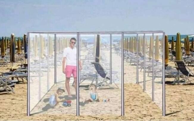 Para frequentar as praias na Europa, empresa criou cabines