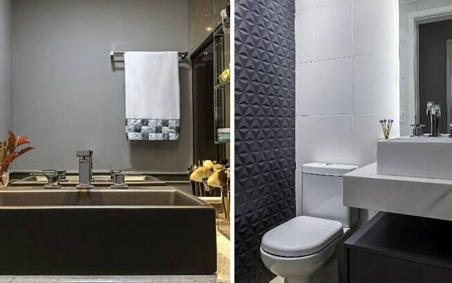 O preto é outro tom que pode ser usado para construir um banheiro decorado; dá para usar em diferentes locais