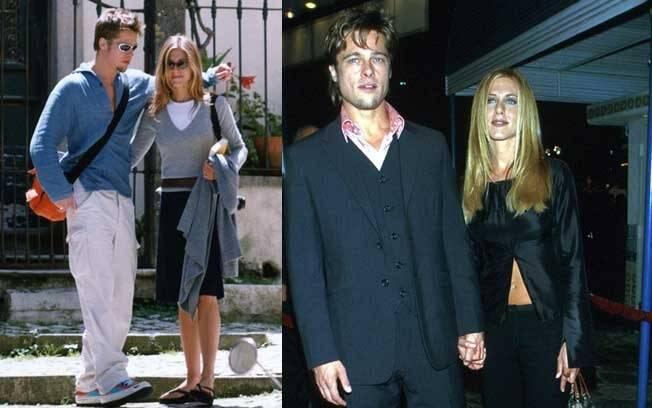 """Jennifer Aniston e Brad Pitt em Cintra, Portugal. O casal em uma de suas primeiras aparições públicas, na première do filme """"Clube da Luta"""", estrelado por ele"""