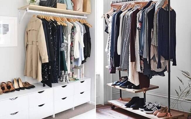 Araras de roupas expostas no ambiente como em lojas também se tornaram uma tendência de decoração
