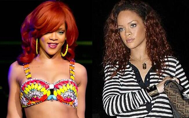 Rihanna ruiva e morena. Qual look você prefere?