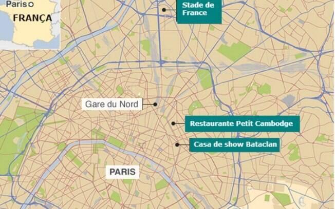 Mapa mostra os lugares atacados em ação terrorista em Paris nesta sexta-feira (13). Foto: Reprodução/BBC Brasil