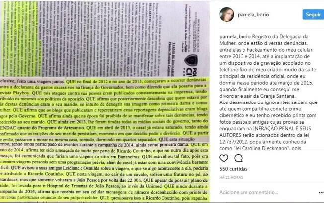 Em uma das postagens no Instagram, a ex-primeira-dama da Paraíba colocou imagens de diversos trechos de BOs