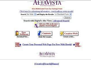 Página inicial do Altavista em 1997
