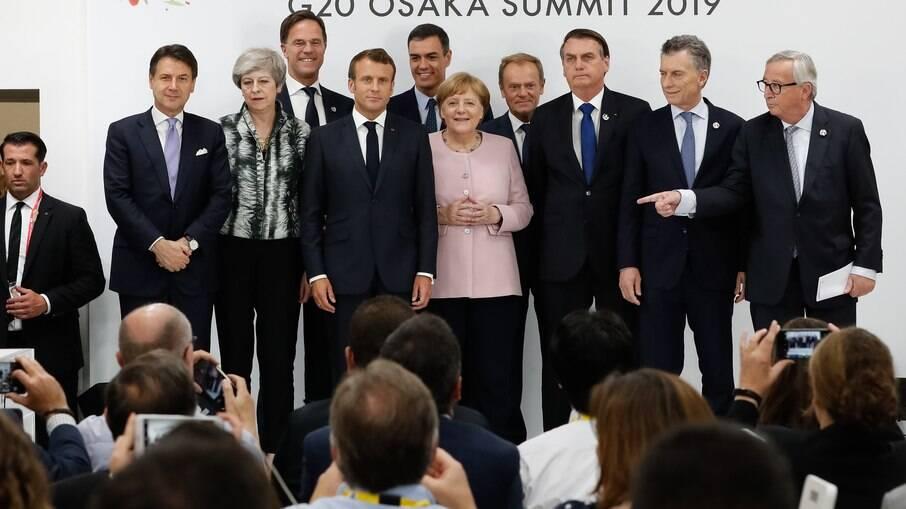 Líderes de países do Mercosul e da UE realizaram uma coletiva de imprensa em meio ao G-20