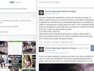 Página da torcida organizada do Tupi no Facebook em que é feito o desafio
