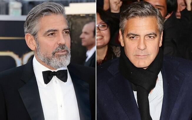 George Clooney com barba e sem barba. Estudo diz que a imagem da direita agora será tendência