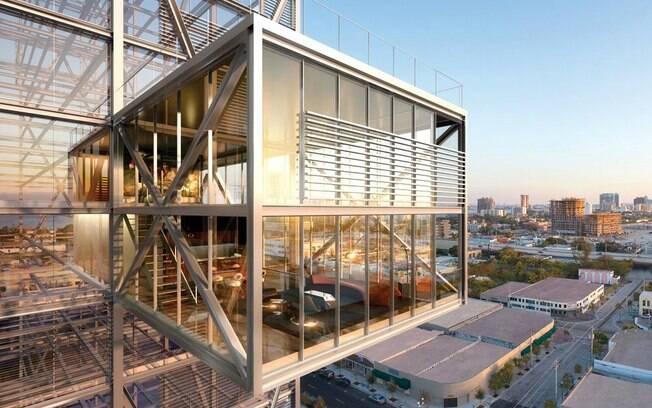 Edifício Cube, com ambientes projetados fora do corpo central do prédio