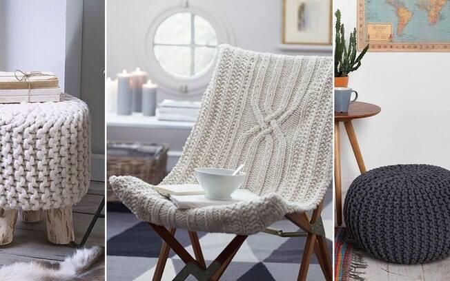 Também é possível encapar móveis, como cadeiras, bancos e pufes, com o tricô, dando uma cara nova a eles