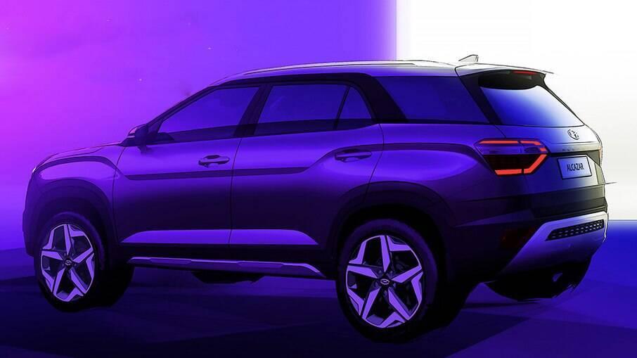 Hyundai Alcazar: desenho mostra linhas do novo SUV de 7 lugares com desenho arrojado que será lançado em breve
