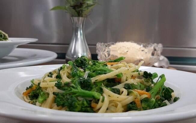 Receita de macarrão com brócolis foi ensinada no Mais Você, programa de Ana Maria Braga