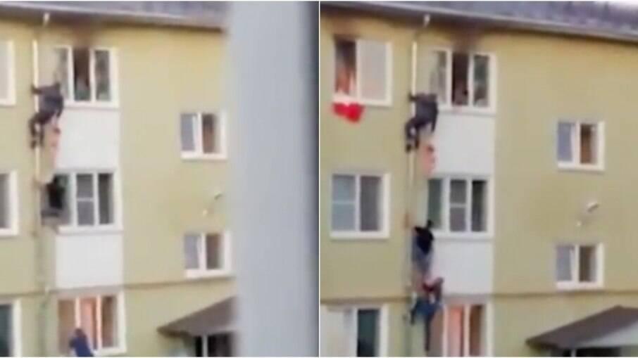 Homens se juntaram para salvar crianças de apartamento em chamas